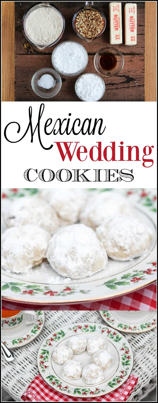 Mexican wedding cookies (or Russian tea cakes as they are sometimes called) are known for their irresistibly nutty taste and powdered sugar topping on their rounded snowball shape.