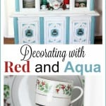 Decorating with Red and Aqua in the Kitchen at Christmas
