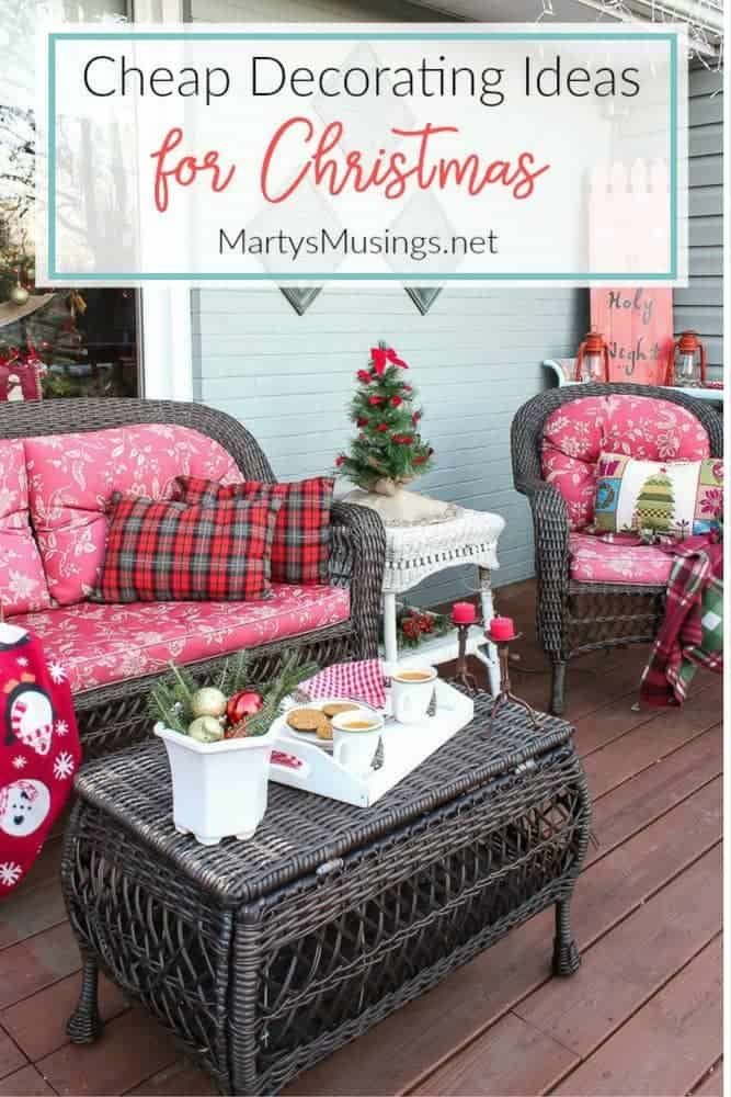 By using natural elements and thrifty yard sale, free and repurposed treasures these deck decorating ideas are inexpensive and perfect for Christmas.