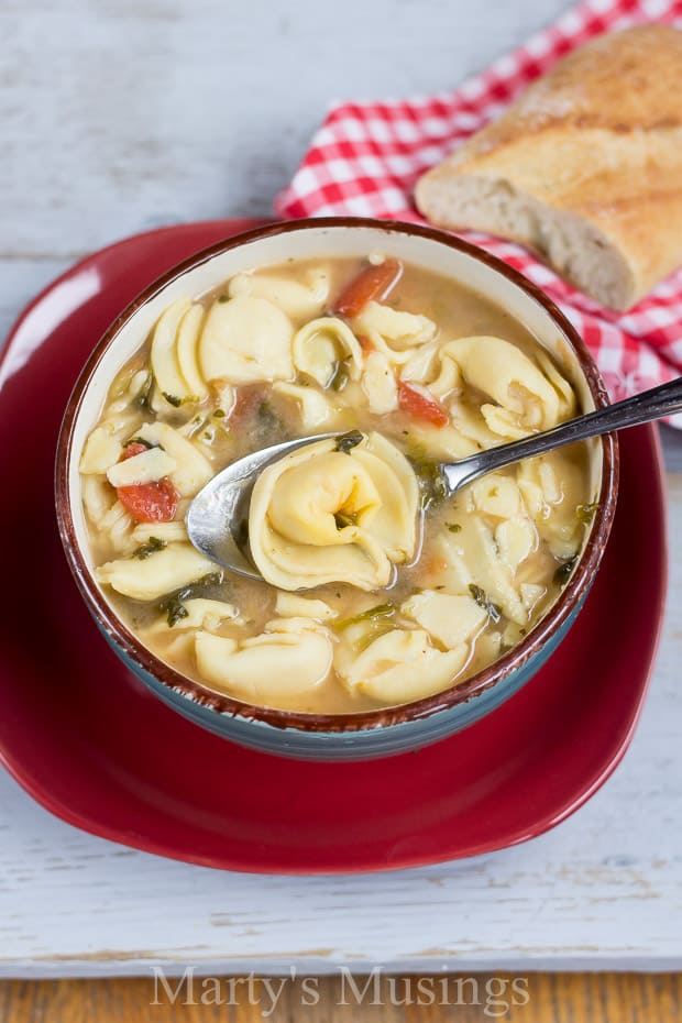 With only 4 ingredients plus spices, this Crock Pot Cheese Tortellini Soup is easy and a perfect dish to serve year round for busy families on a budget.