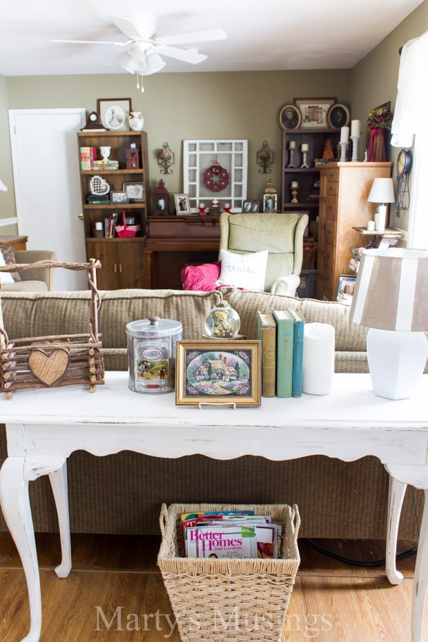 Fun tips for celebrating the holiday of love without spending a lot of money or time with an easy Valentines Day vignette filled with yard sale and thrift store treasures.