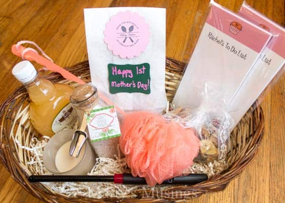 Celebrate a new mom on her special first mothers day with an easy, inexpensive basket filled with gifts to help her relax and enjoy those early, busy days!