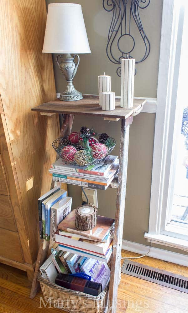 Superb A Trash To Treasure Step Ladder Shelf Makes The Perfect Side Table In This  Shabby Chic