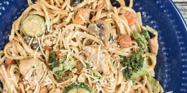 By making smart ingredient choices this Pasta Primavera recipe with Grilled Chicken and fresh (or frozen) vegetables is healthy AND delicious!