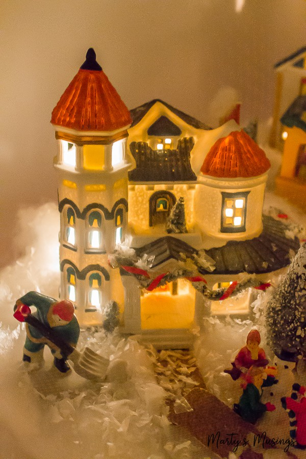 miniature Christmas village display with houses