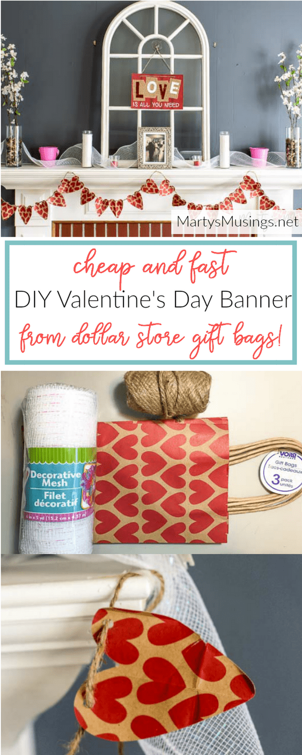 This cheap and fast DIY Valentine's Day banner is made out of gift bags from the dollar store. So clever to make even the kids can help! Decorate your entire mantel or wall!