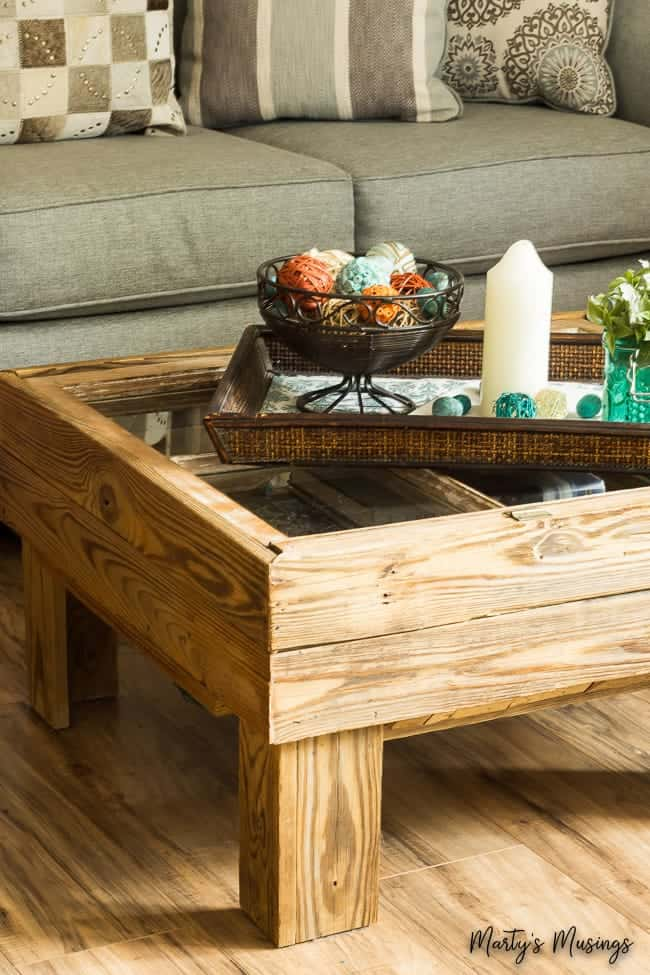rustic window table with tray decor on top