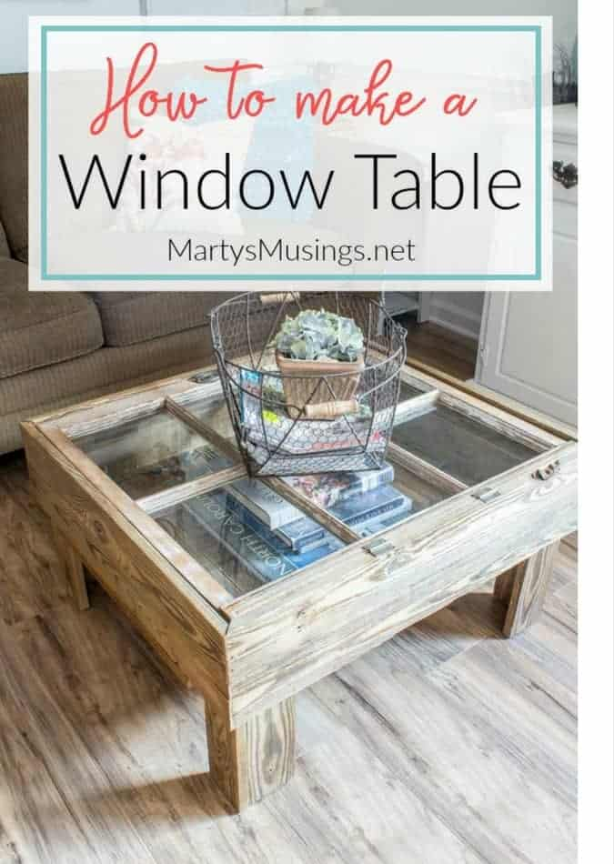 This DIY tutorial explains how to make a window table for the rustic look for practically nothing. Great furniture idea for the repurposed shabby chic look.