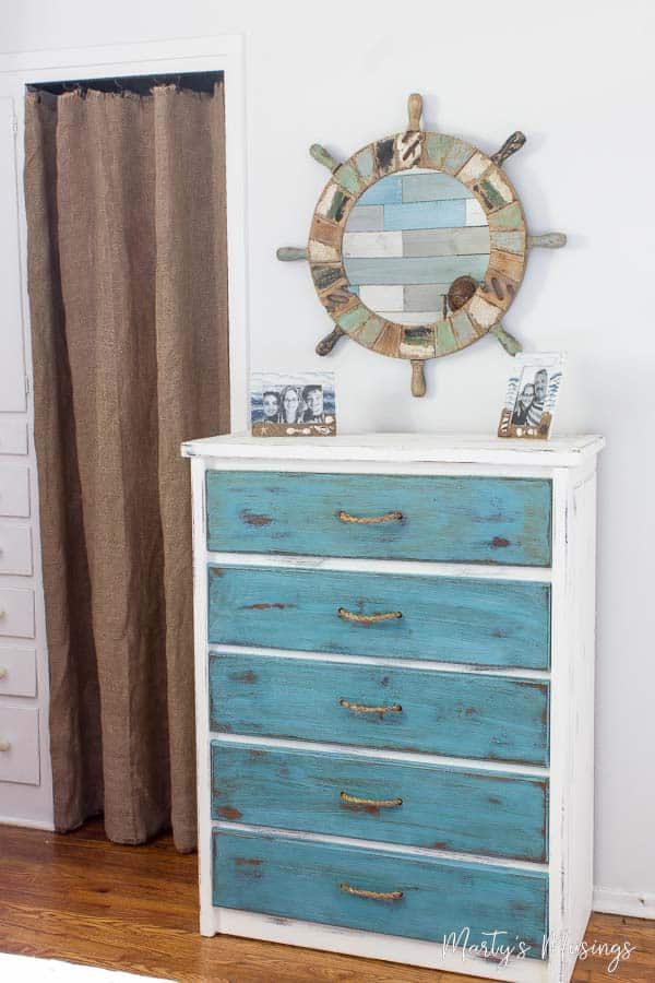 Dresser painted white and blue with chalk paint and rope handles