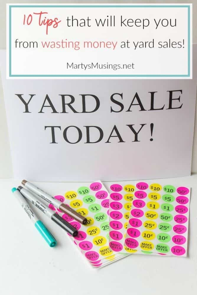 Yard sale sign and pricing stickers