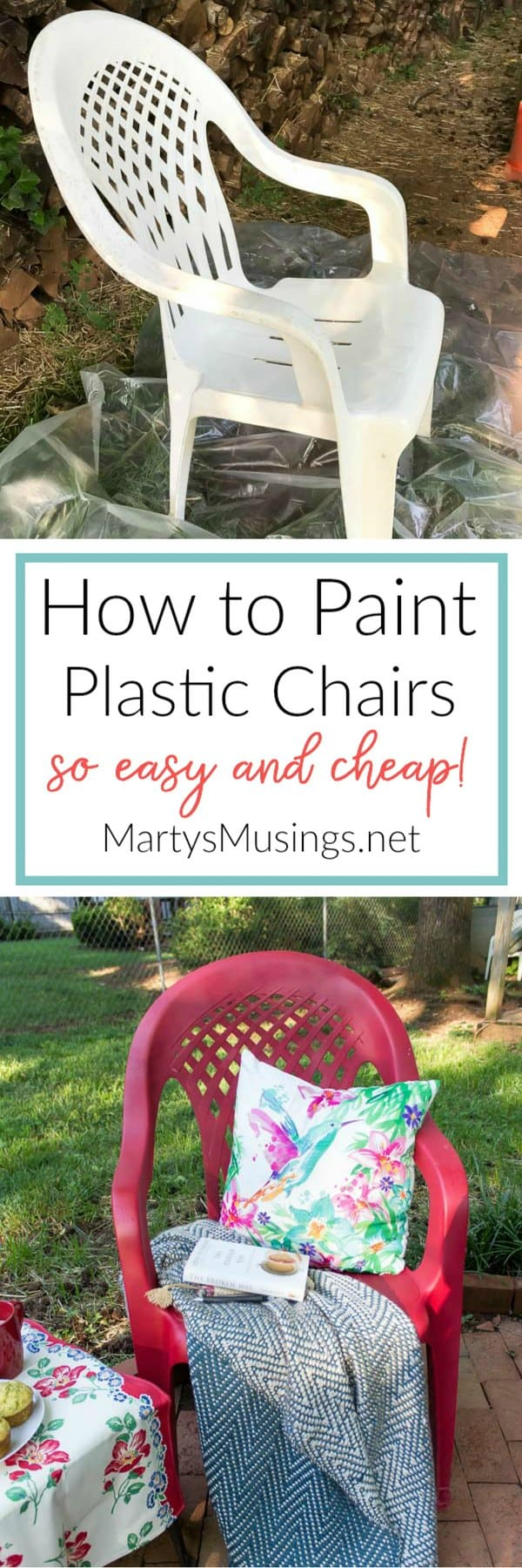 can do shows how to spray paint plastic chairs without spending a lot. Black Bedroom Furniture Sets. Home Design Ideas