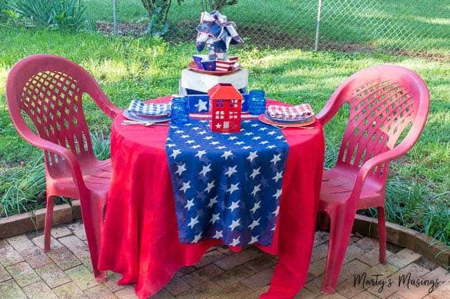 This easy red white and blue tablescape can be created for the 4th of July holiday by using what you already have in your home, saving you both time AND money!