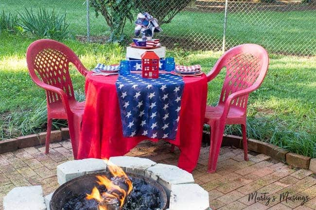 Patriotic Picnic Table Outdoors By The Fire Martys Musings - Fire picnic table