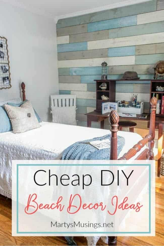 Inexpensive diy beach decor ideas and small bedroom reveal for Coastal wall decor ideas