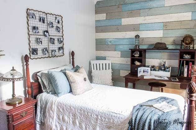 Inexpensive DIY Beach Decor Ideas and Small Bedroom Reveal | Marty's on redo bathrooms on a budget, diy bedroom shelf ideas, diy striped wall bedroom, diy bedroom painting ideas, diy guest bedroom ideas, beautiful bedrooms on a budget, diy bedroom wall decorating ideas, diy chalk paint bedroom furniture, diy dining room makeover on budget, pinterest home decorating on a budget, romantic bedrooms on a budget,