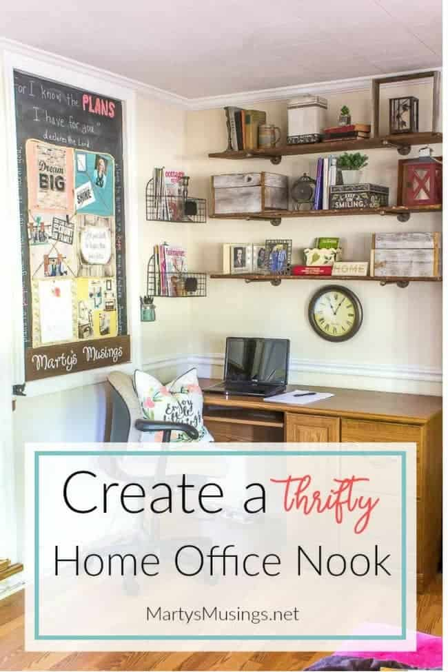 Create an organized and thrifty home office nook marty 39 s for Creating a home office