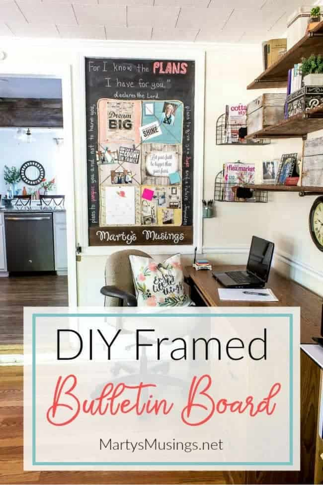 Carve out a space in your small home office nook for an easy DIY bulletin board using scrapbook paper, chalkboard paint and your creativity!