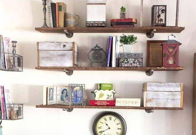 How to Build Industrial Pipe Shelves and Make New Wood Look Old