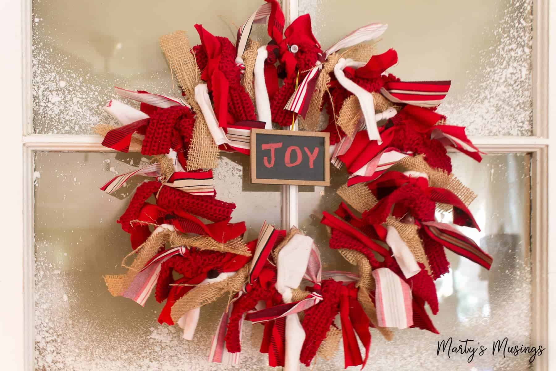 How To Make A Diy Christmas Rag Wreath Marty S Musings