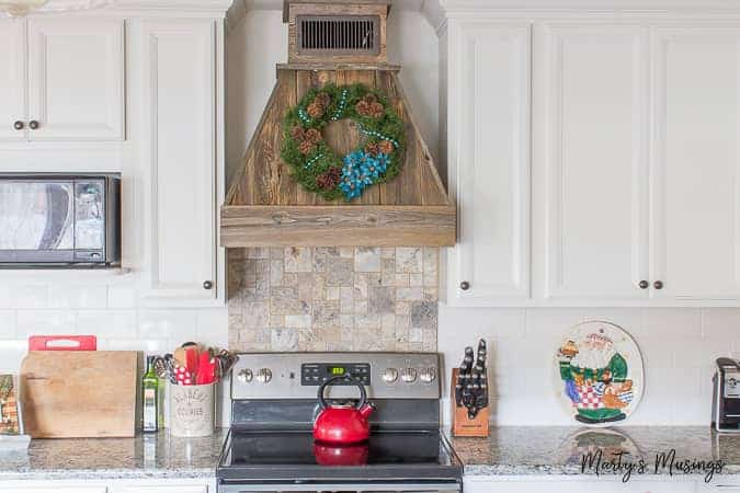 Rustic Christmas Kitchen Decor with Aqua and Red Accents on