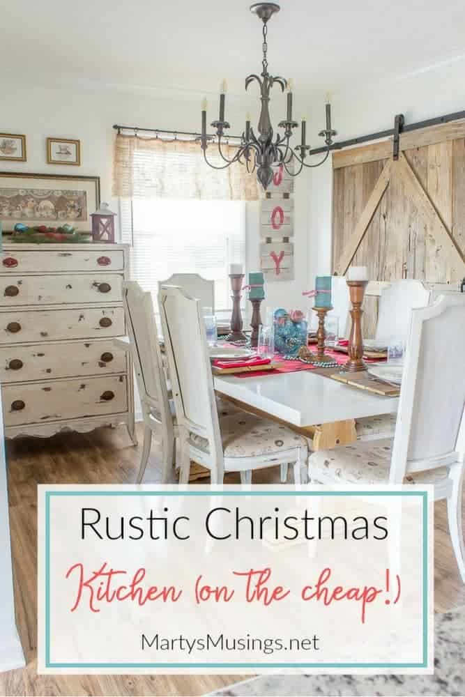 this rustic christmas kitchen decor is simple to pull together using aqua and red accents for
