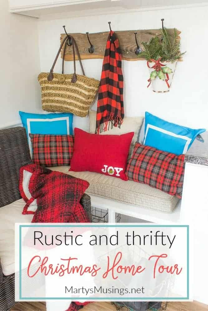 Filled with thrifty aqua and red decor and easy DIY tips, this 2017 Christmas home tour also gives encouragement for embracing the heart of the home. #christmas #christmasdecorations #christmashome #diy #rustic #repurposed #martysmusings