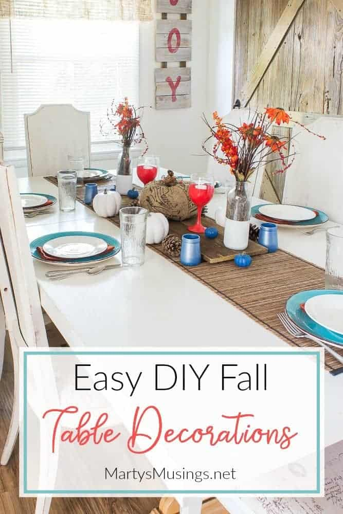 orange and blue fall table decorations