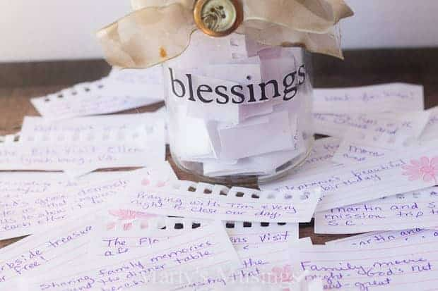 family blessing jar with blessings on slips of paper