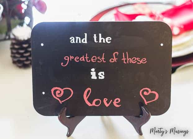 And the greatest of these is love chalkboard quote