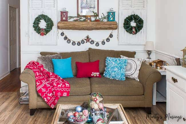 Christmas farmhouse decorations with red and blue accents