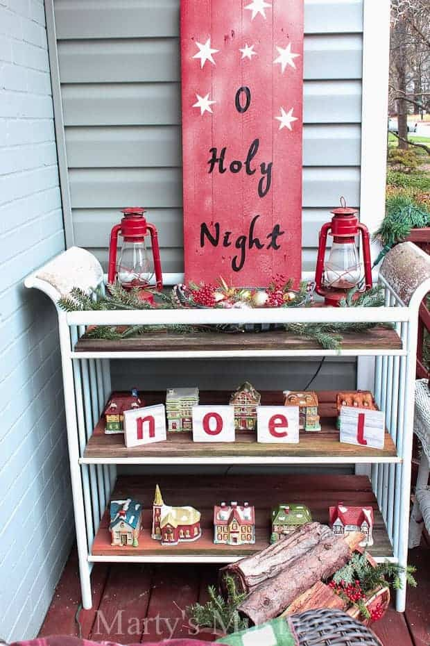 O Holy Night sign with vinyl letters repurposed from old wood
