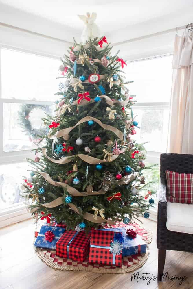 Christmas tree with red and aqua accents