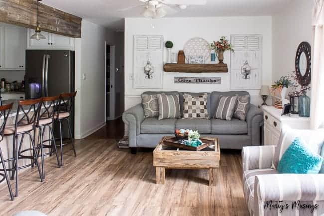 Barn wood mantel and header with laminate wood flooring