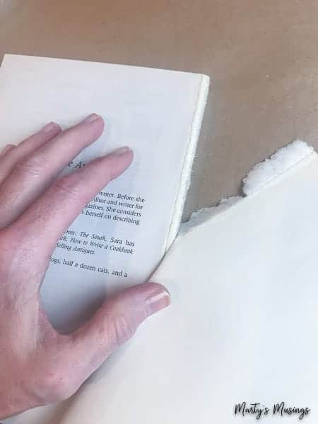 tear cover off inexpensive books for stamped books DIY
