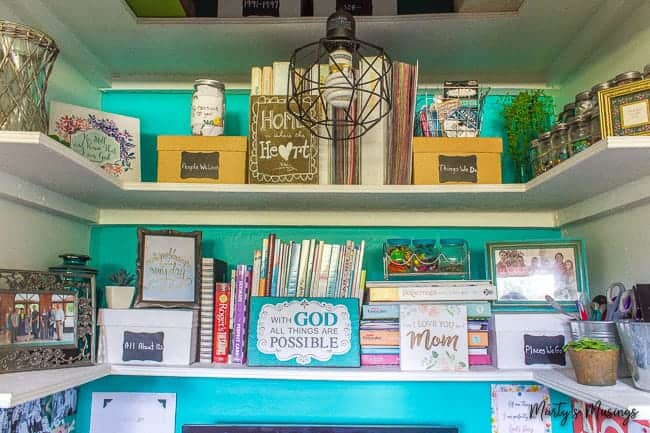 shelving made out of plywood for home office nook