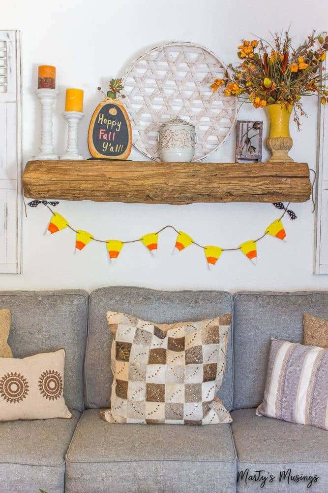 Candy Corn Banner using a paper plate