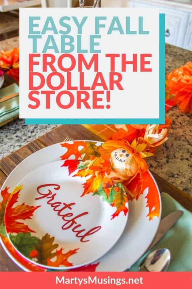 easy fall table from the dollar store