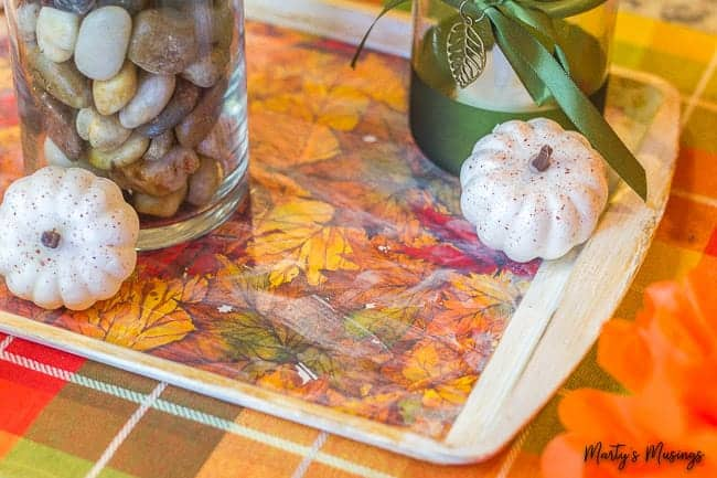 decoupaged cookie sheet for fall table