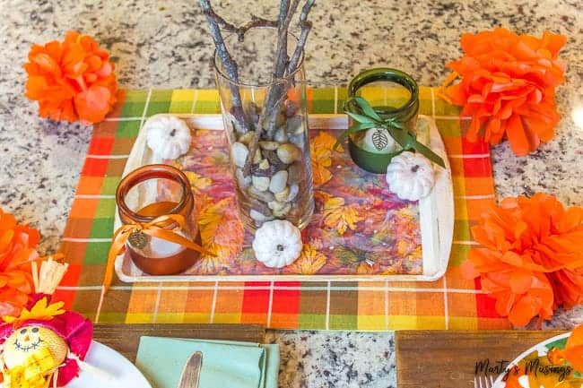 dollar store fall table decor