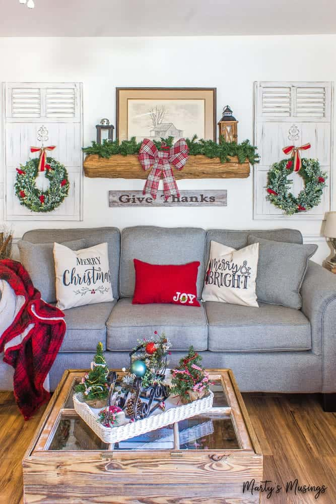 rustic mantel with inexpensive Christmas wreaths