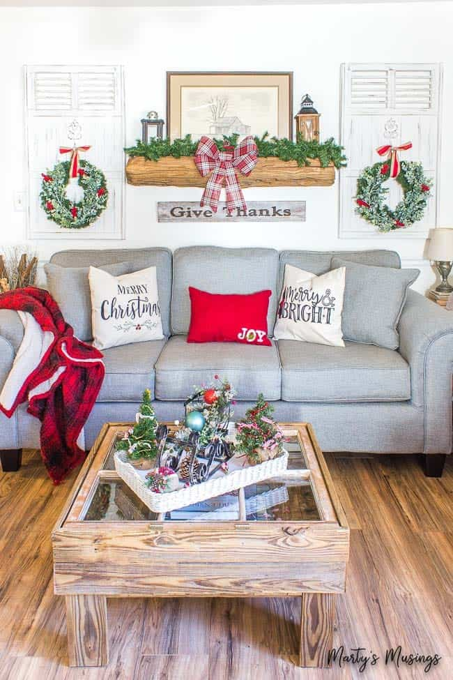 Rustic farmhouse Christmas decorations with aqua and red