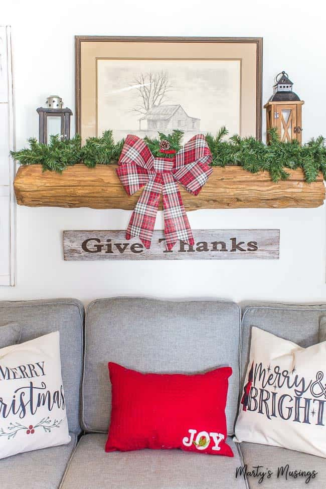 Rustic farmhouse Christmas decorations and mantel