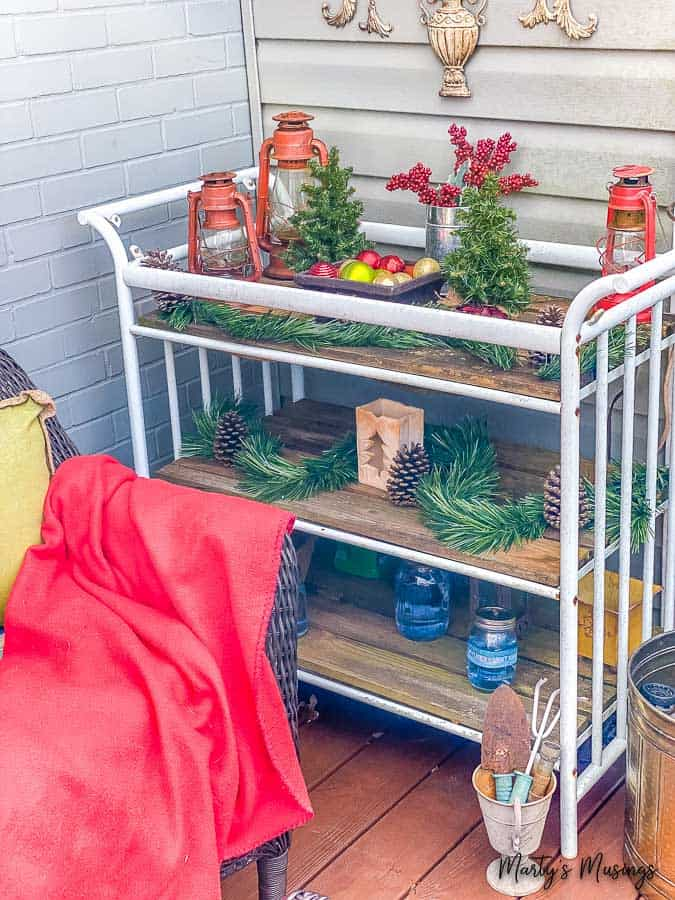 DIY garden cart decorated for Christmas