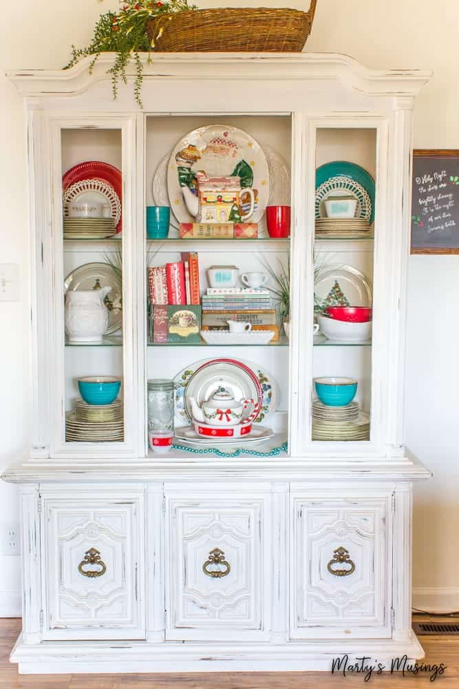 red and blue chalk painted hutch at Christmas