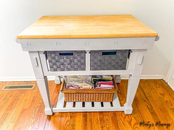 Repurposed Rolling Kitchen Cart with Butcher Block