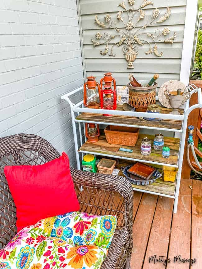 Garden cart on front deck with potting supplies