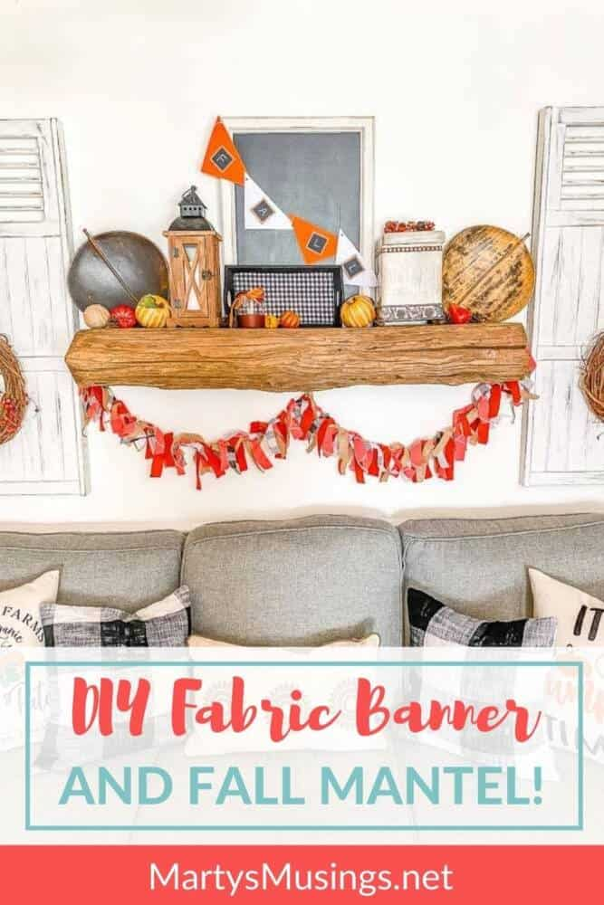 DIY fabric banner and fall mantel