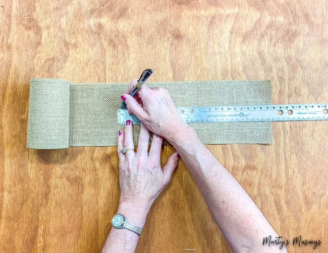 mark burlap ribbon with ruler