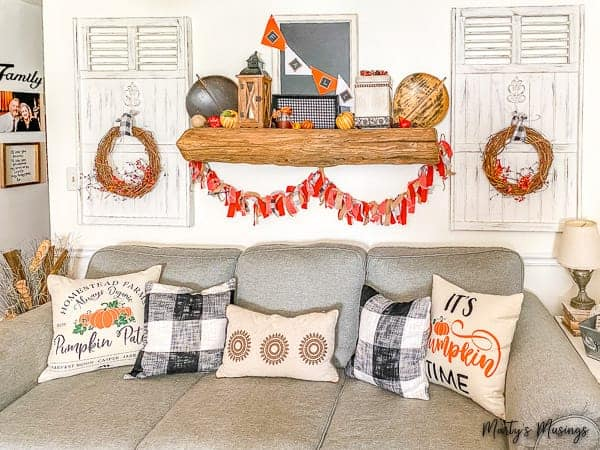 How to Make a DIY Rag Banner + Fall Mantel