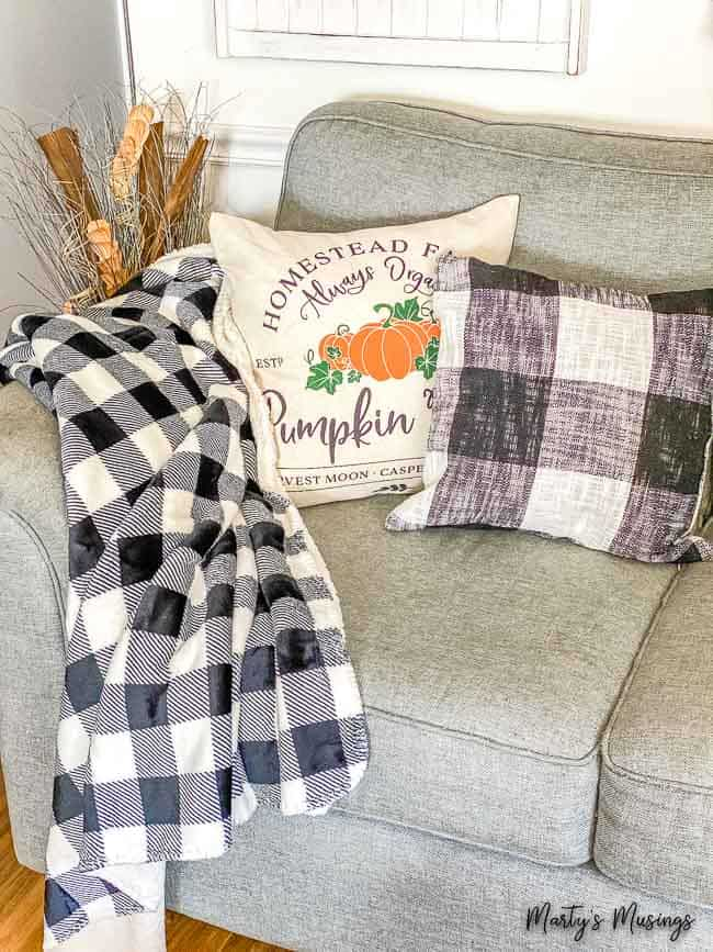 Buffalo check throw and pillows for fall